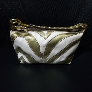 Coach Zebra Gold Leather and White Canvas Baguette